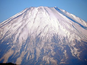 Close up view of Mt. Fuji viewed in the morning of December 16, 2013