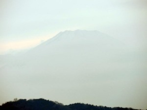 Mt. Fuji viewed in the evening of January 14, 2014