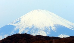 Close up view of Mt. Fuji viewed in the morning of January 27,2017.